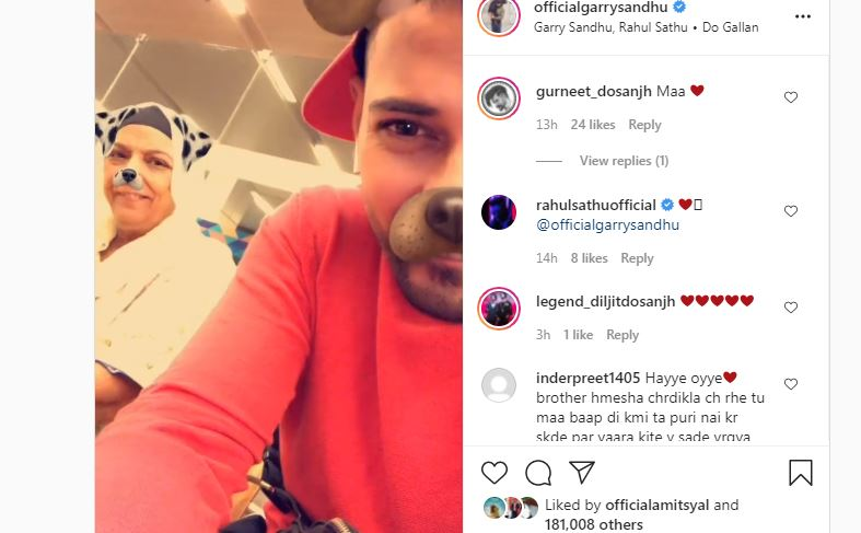 inside image of garry sandhu shared cute video with his mother