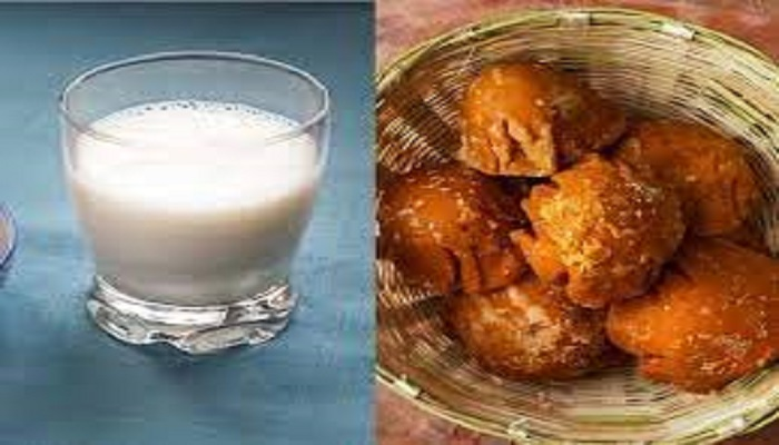 milk and jaggery,