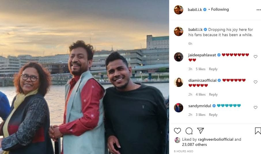 babil posted his late father irrfan khan cute smiling image with fans-min