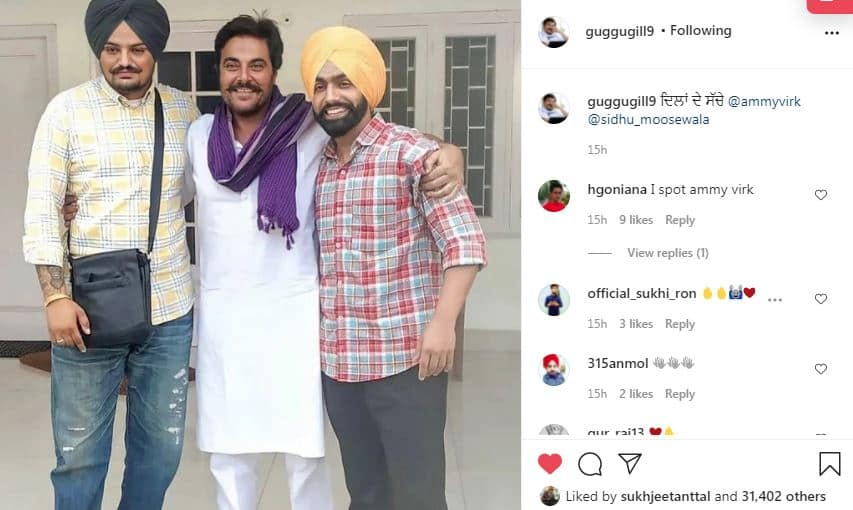 guggu gill posted in the support of ammy virk-min