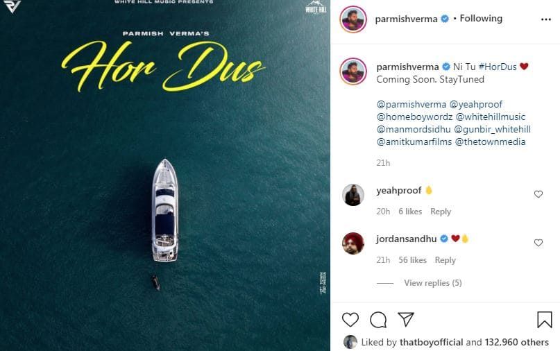 singer parmish verma shared first poster of his song hor dus with fans-min