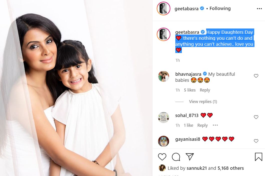 geeta basra with daughter and wished happy daughter's day-min