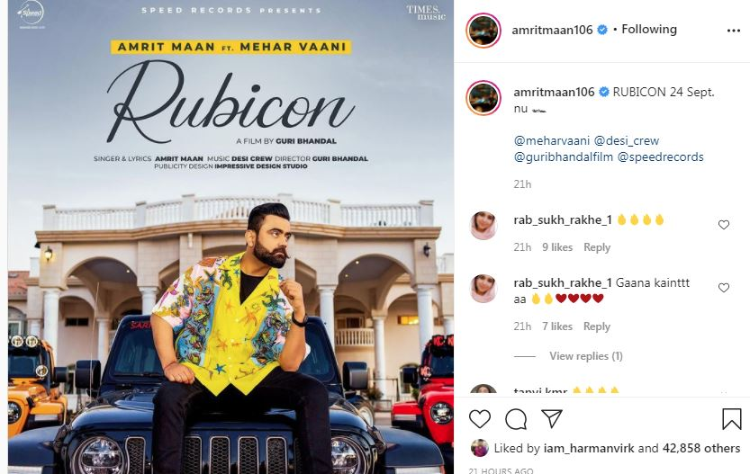 inside iamge of amrit maan new song rubicon poster-min