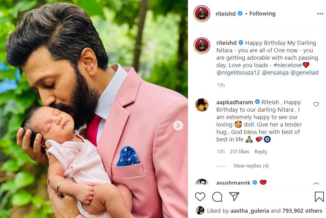 riteish posted cute pic of his niece-min
