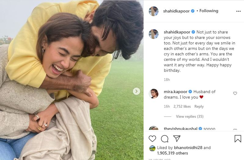 shahid kapoor posted birthday wished to his wife meera-min